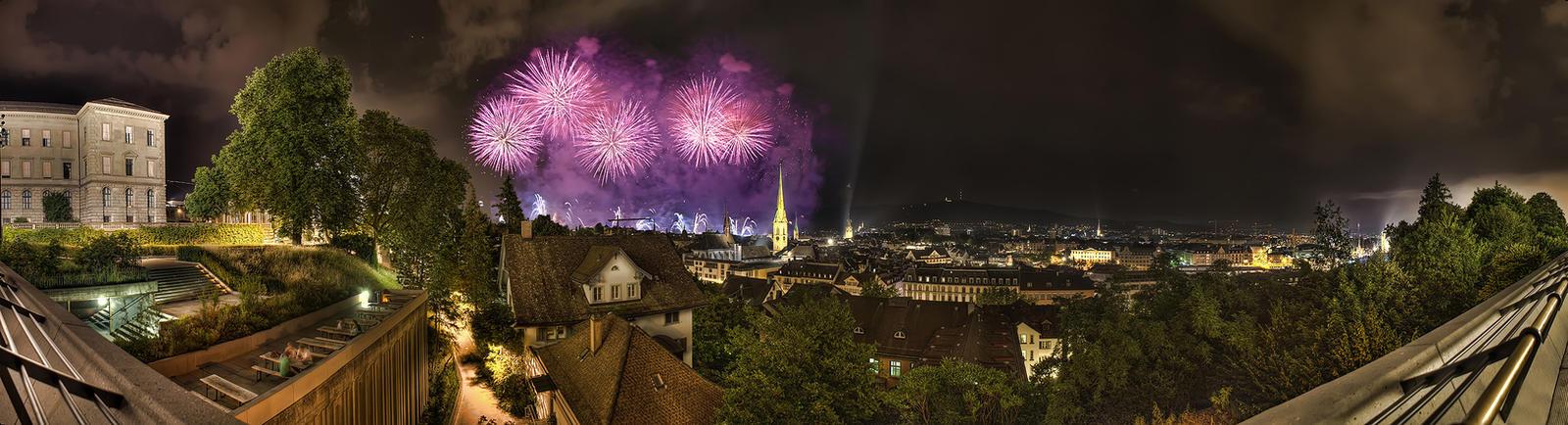 Firework Panorama - Zurich by balduris