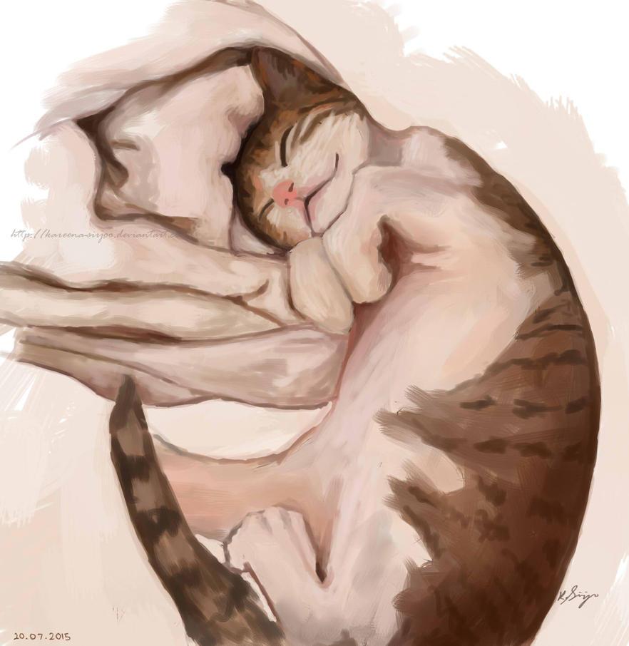Sleepy Kitty by Kareena-Sirjoo