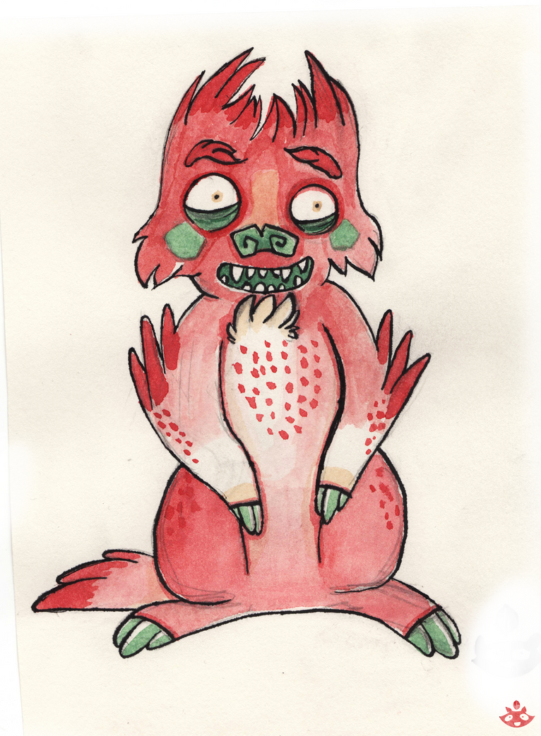 Red monster cat by nuttycoon