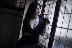 What a glorious evening - Morticia Addams cosplay