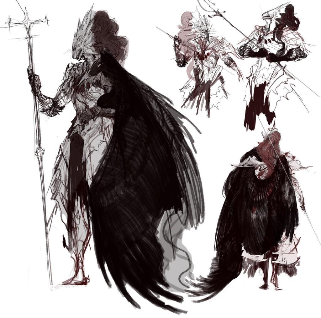 Dark Souls Character Design Process : Ornstein sktch by reykat on deviantart