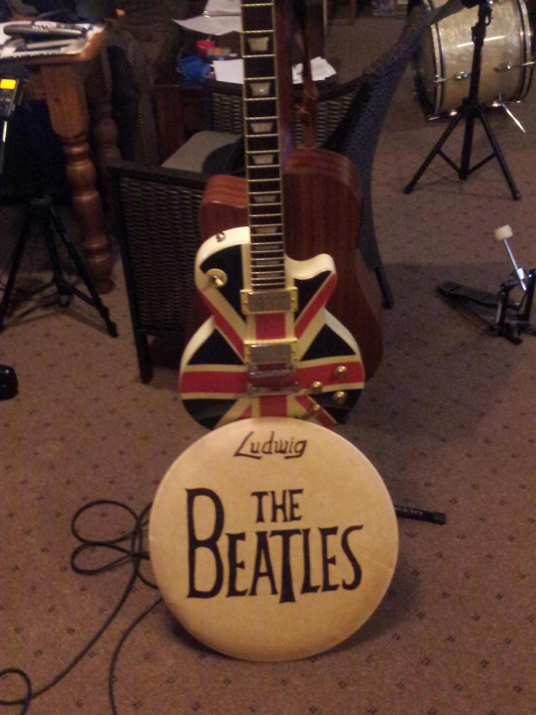 beatles drum head and union jack guitar by jamnrevan on deviantart. Black Bedroom Furniture Sets. Home Design Ideas
