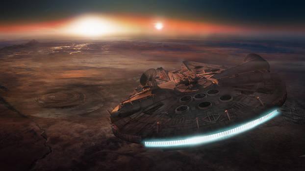 Millennium Falcon Over Tatooine