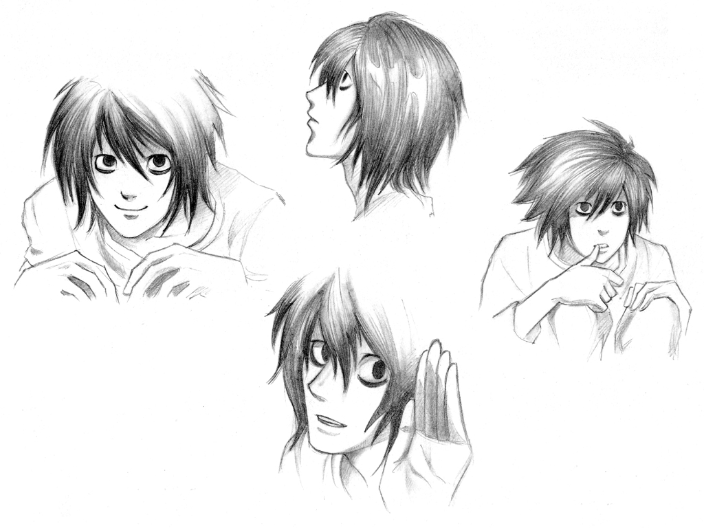 how to draw l from death note