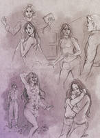 Commission 113 - Adria/Elos Orian sketchpage by NikeMV