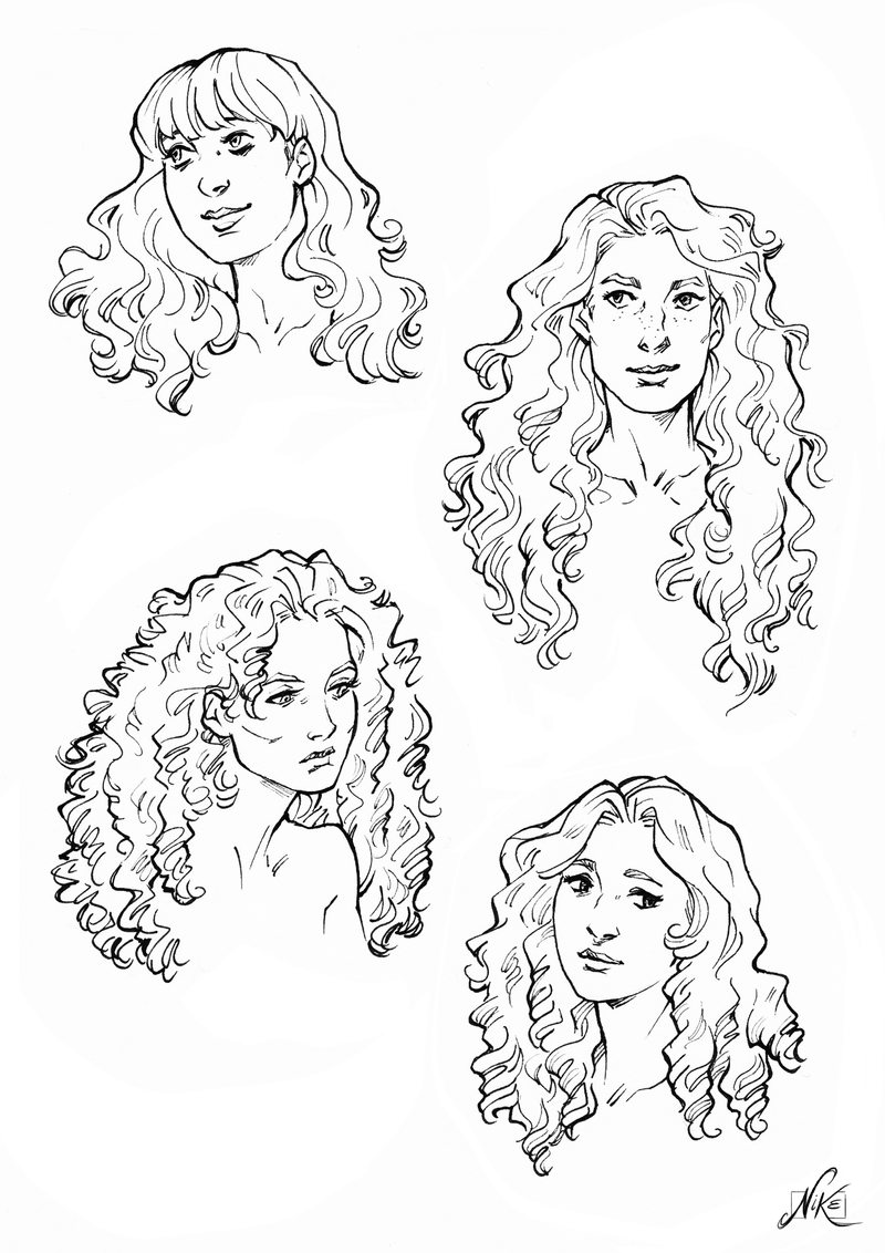 Curly Hair Drawings For Kids