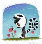 @Daily_Doodles-Baby Lemur and a Bee
