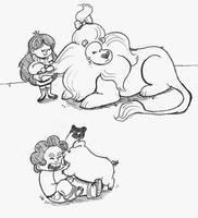 Two Kids and their Pets by JessieDrawz