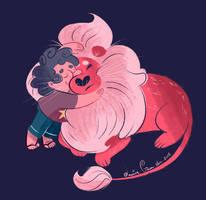 Lion Hug by JessieDrawz