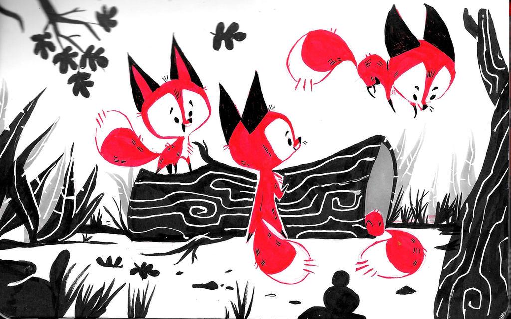 Playful Foxes by JessieDrawz