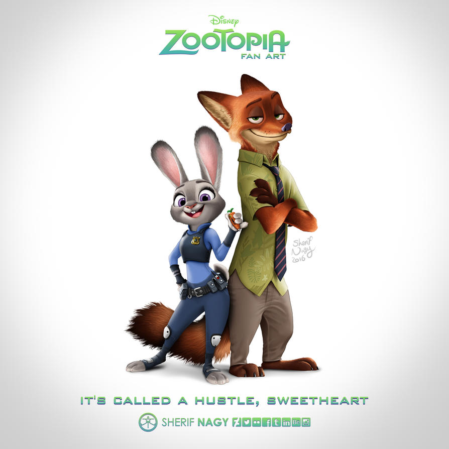 Zootopia - fan art - jundy hopps and nick wilde by SherifNagy