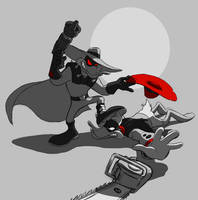 Darkwarrior Duck vs Negaduck by RakishRaven