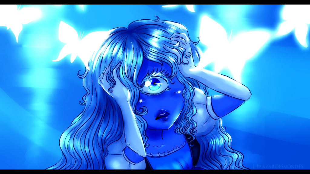 Screenshot redraw of Sapphire from Steven Universe in the Here Comes a Thought sequence !  original