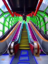 Cyberpunk escalator by SilverHeart778
