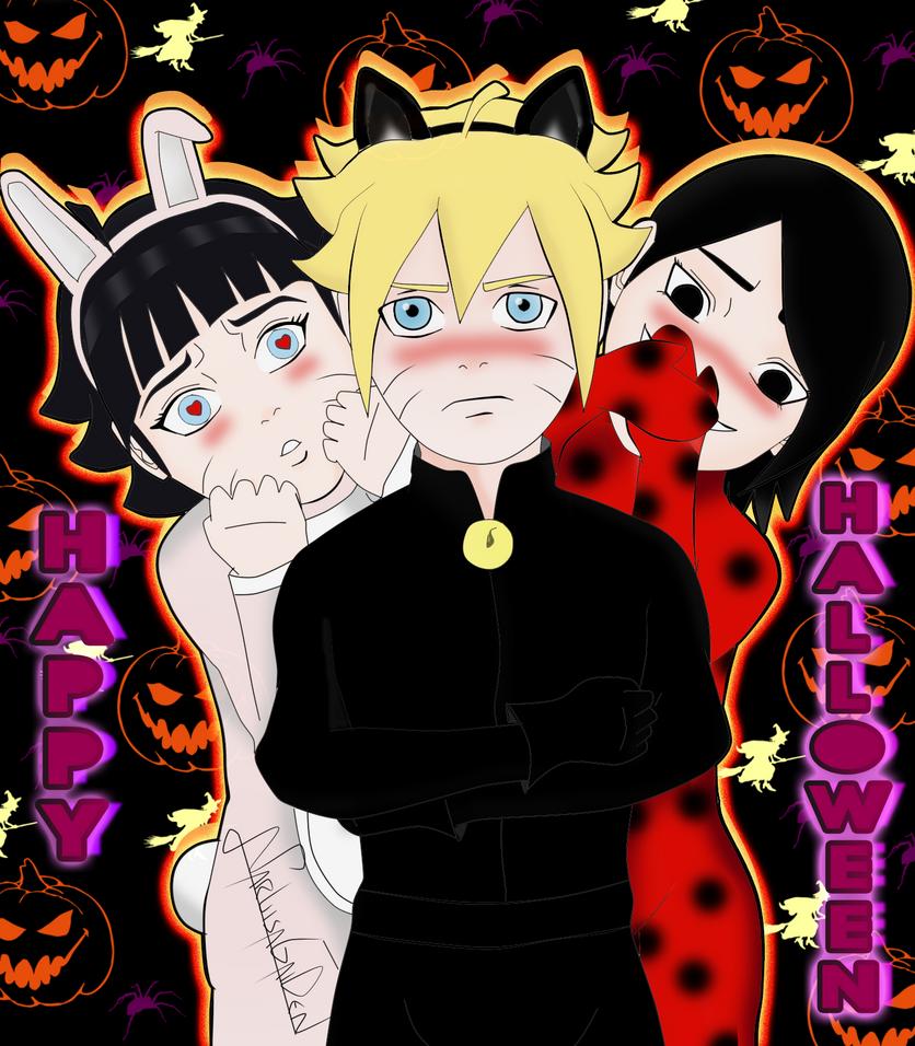 Boruto,Himawari Y Sarada Halloween By NARUISAGAIDEN On