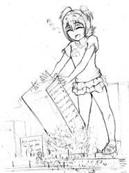 (Sketch) Miria pushing a building by Iodain