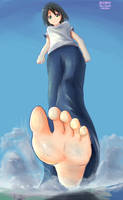 Under Miyo's giant sole by Iodain