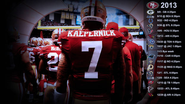 Kaepernick Wallpaper with 2013 schedule (EST)