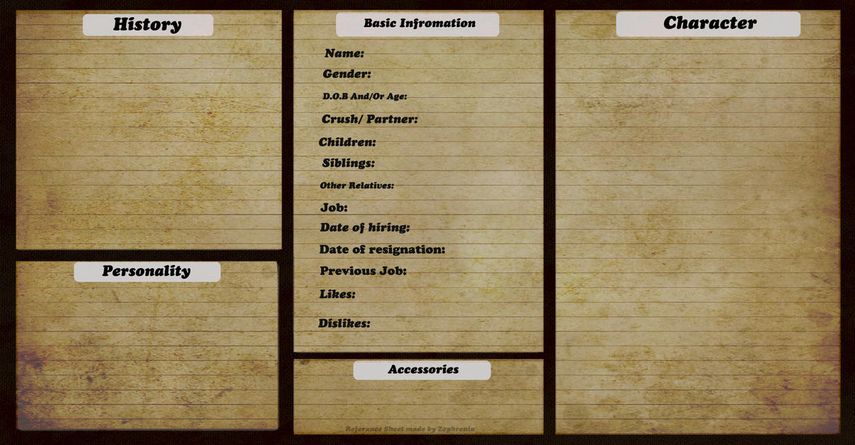 Referance Sheet for people by Zophrenia