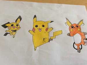 Pichu Pikachu and Raichu