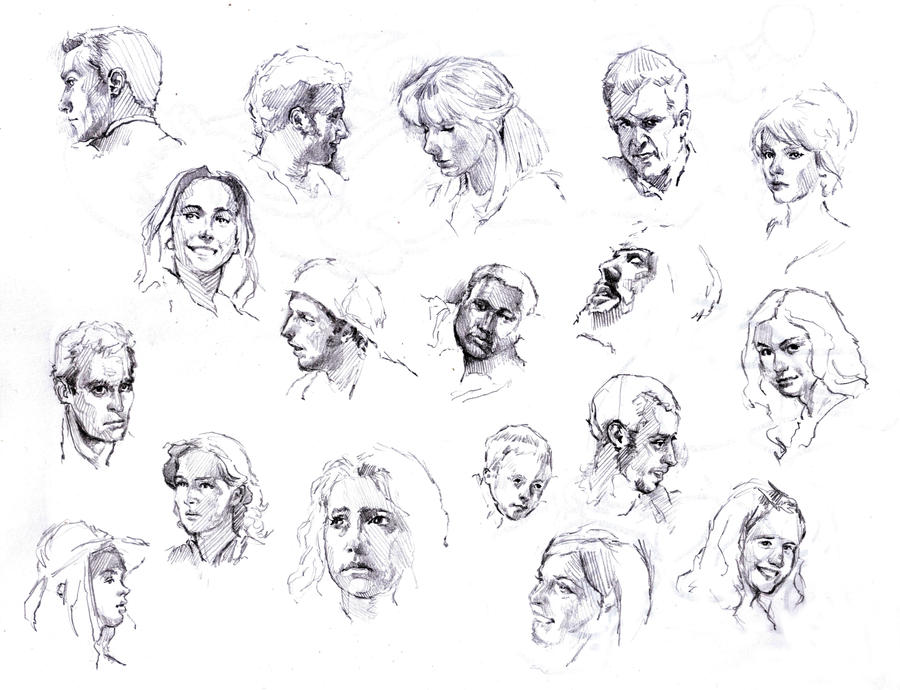 faces sketch study by silentjustice on deviantart