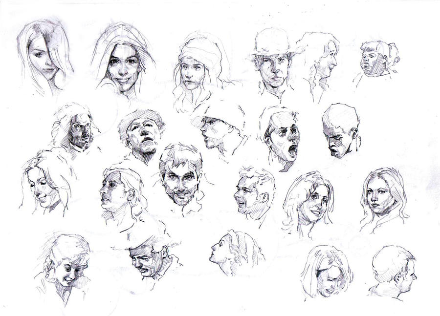 faces sketch study 2 by silentjustice on deviantart