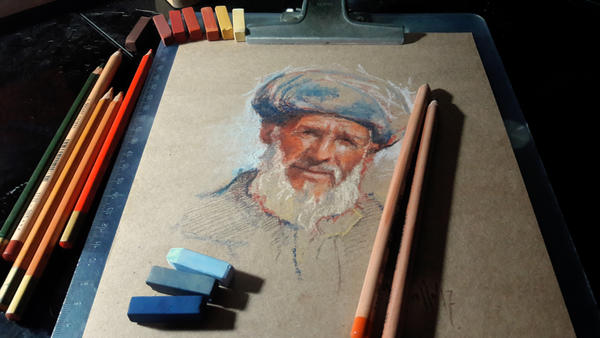 Old face pastels workspace by SILENTJUSTICE