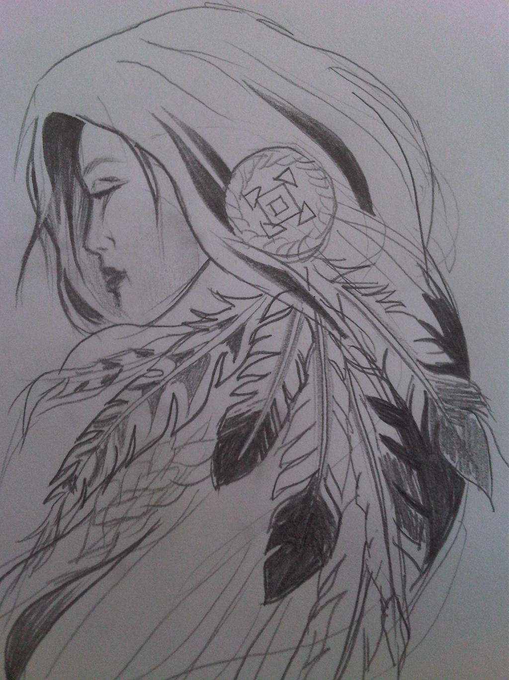 Native American Girl By Krisid Traditional Art Drawings Portraits