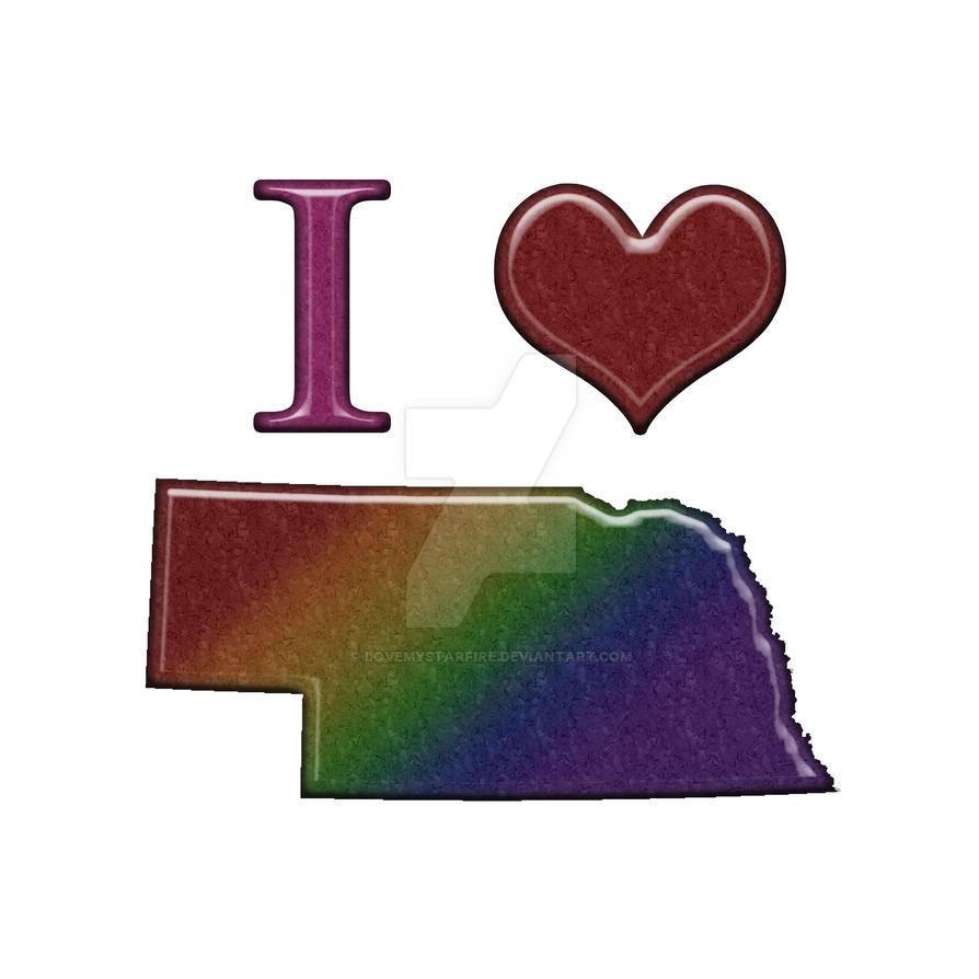 LGBT Pride I Heart Nebraska Rainbow Map By Lovemystarfire