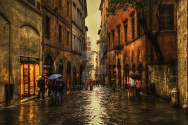 Rainy day in Siena, Italy
