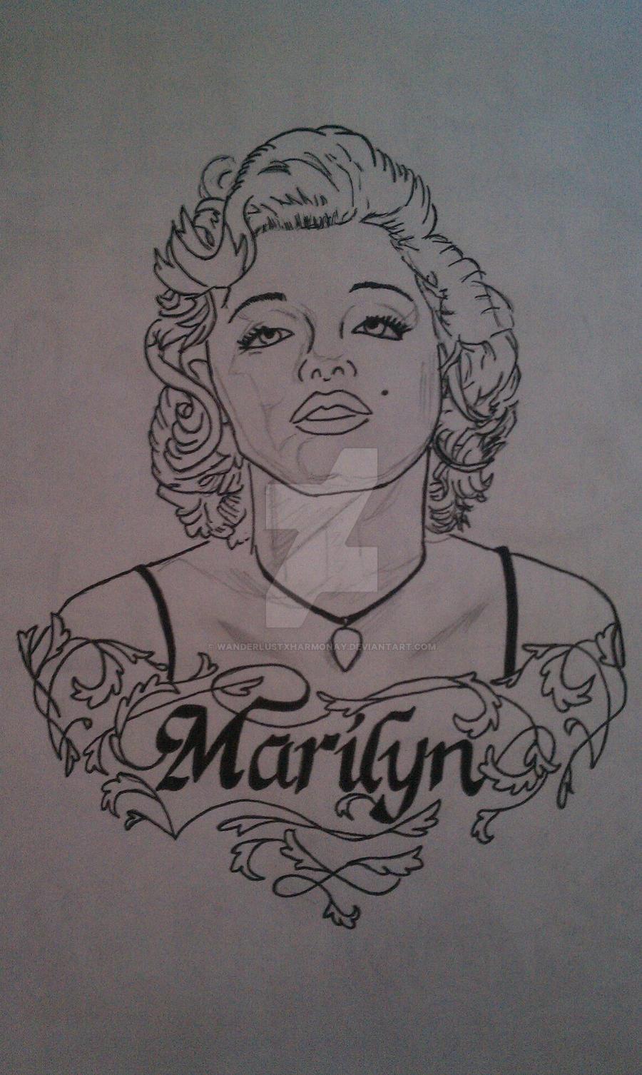 Marilyn monroe tattoo wip by wanderlustxharmonay on deviantart for Marilyn monroe with tattoos poster