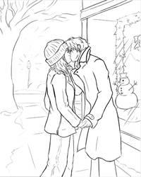 Alex and Alyssa Kiss (sketch) by Elbellart