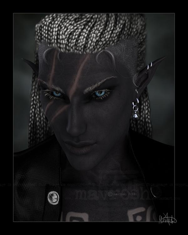 Portrait Of A Dark Elf by Mavrosh