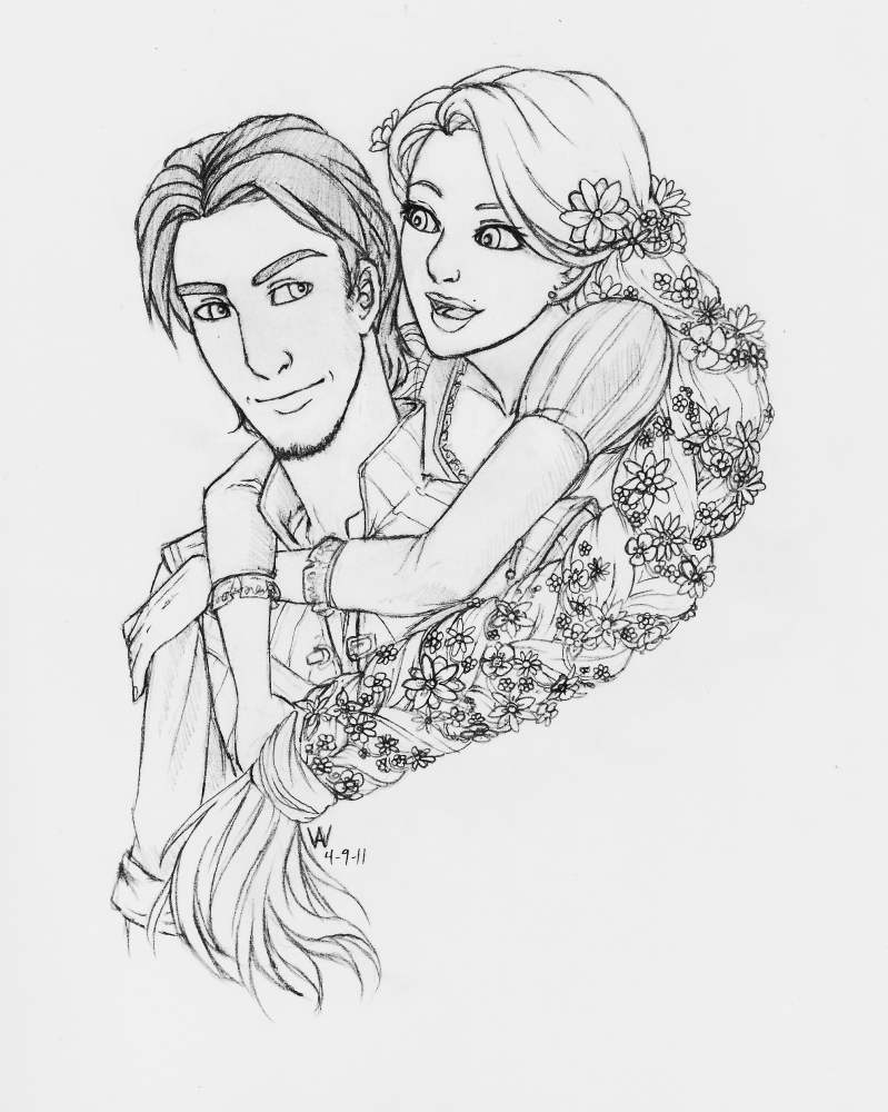 Flynn and Rapunzel by KageOfLight on DeviantArt for tangled rapunzel and flynn drawing  555kxo