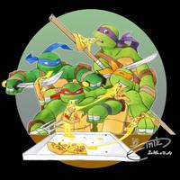 Pizza fight! by FinikArt
