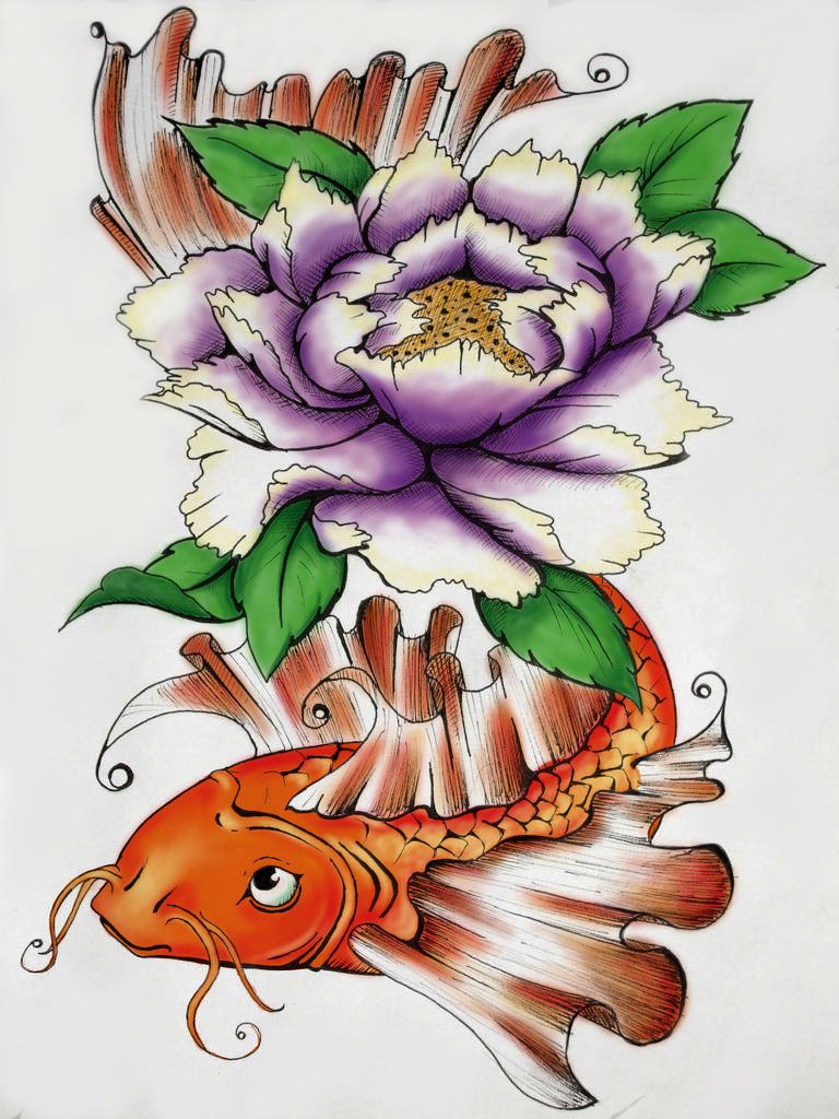 Koi with peony colored by ejlia