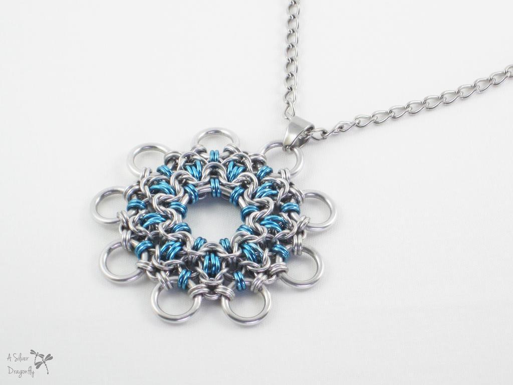 Sky Blue Snowflake Kaleidoscope Pendant Necklace
