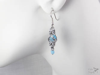 Light Blue Captive Bead Chainmaille Drop Earrings