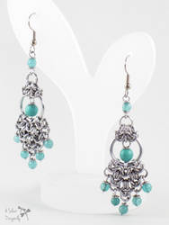 Sea Green Turquoise and Jade Chainmaille Earrings