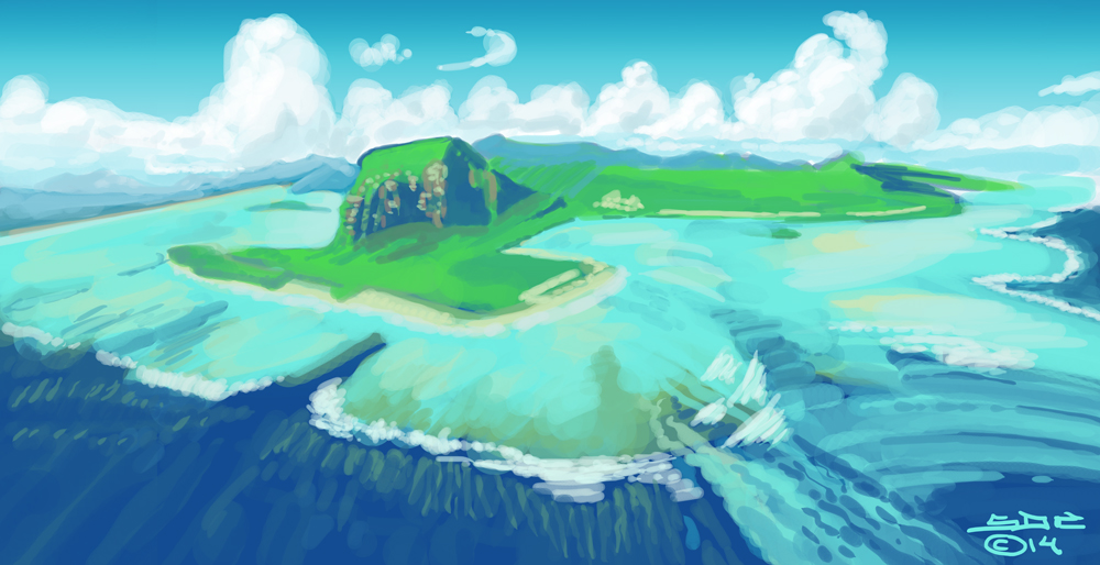 Digital Sketch of Island With Reef by ink5000
