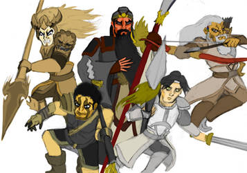 Five Dragon Generals (Colour) by HisPurpleness