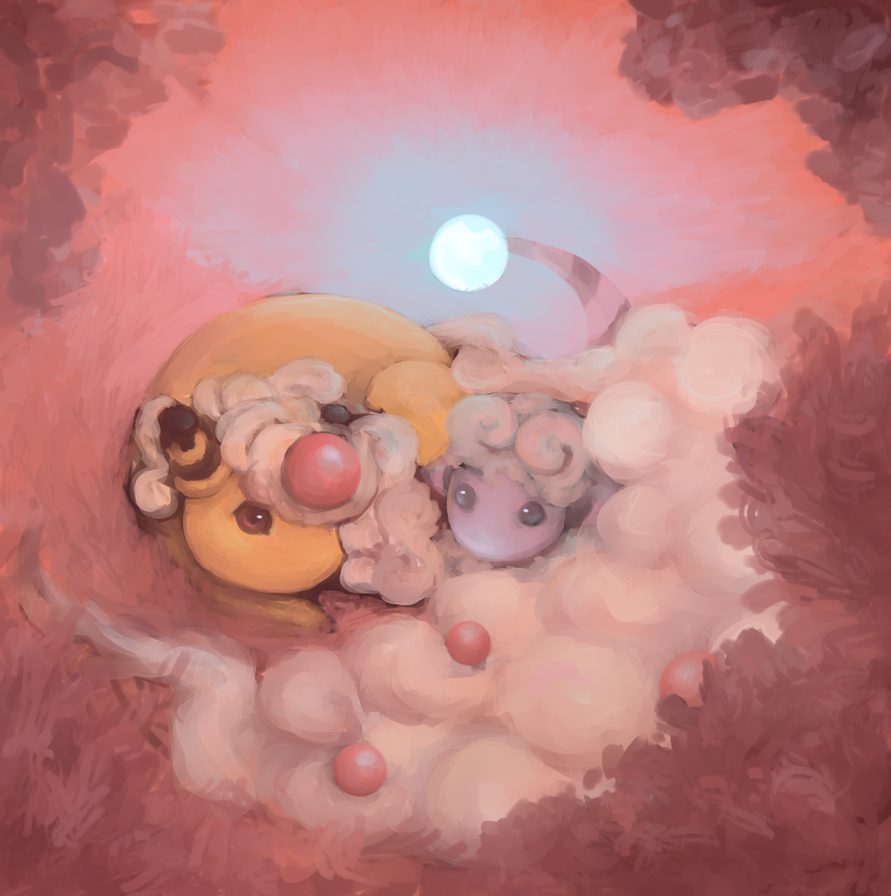 [art trade] Flaaffy and Mega Ampharos by LittleGlacie
