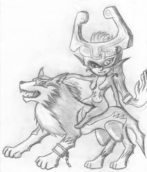 Wolf-Link and Midna - sketch