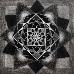 Mandala 95 white on black challange by hadas64
