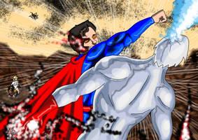 DC Civil War...Captain Atom Vs Superman by adamantis