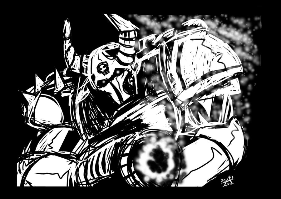 Warhammer 40'000 Chaos Marine by adamantis