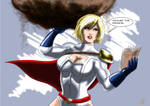 Powergirl reads.