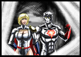 Powergirl / Captain Atom by adamantis