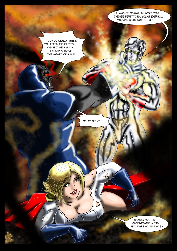 Captain Atom and Powergirl Vs Darkseid part 2 by adamantisHulk Vs Darkseid
