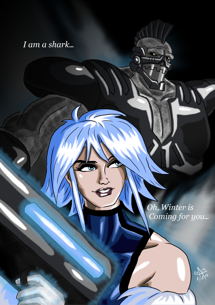 Killer Frost and King Shark II by adamantis